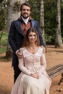 Felipe e Lívia de Além do tempo:  casal volta a se encontrar nos dias de hoje (Crédito: Globo/ Fabio Rocha)