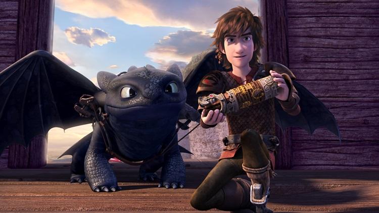 Cenas da primeira temporada da série Dragões: Corrida até o limite, spin-off de Como treinar seu dragão (Netflix/Divulgação)
