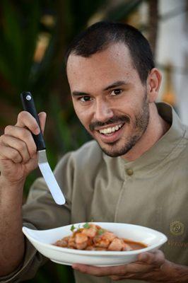 Lui Veronese e pescado com fettuccine de palmito pupunha, do Cru Balcão Criativo  (Carlos Vieira/CB/D.A. Press)