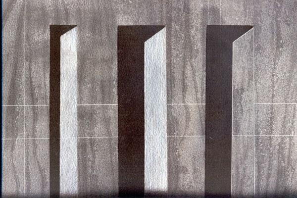 A arquitetura de Brasília serviu como inspiração para Rodrigo Rosa nos desenhos da mostra  (Rodrigo Rosa/Divulgaçao)