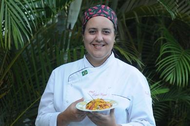 A chef Raquel Amaral criou para o período junino um cuscuz de milho com pinhão e linguicinha portuguesa (Carlos Moura/CB/D.A Press)