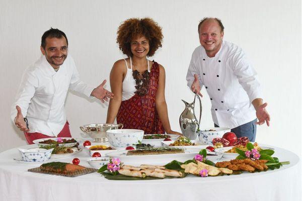 Evandro Viana, Nicole Magalhães e Simon Lau: cozinha afetiva a seis mãos  (Zuleika de Souza/Divulgação)