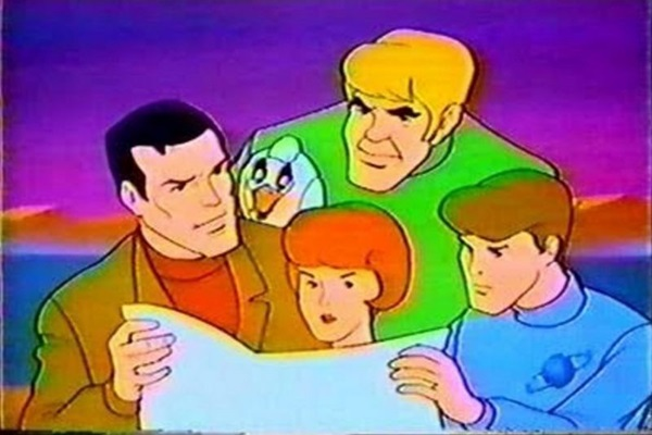 Professor Lindenbrook e sua turma em uma das cenas da série animada (Reprodução)