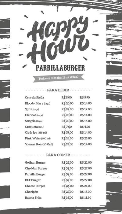 Cardápio de happy hour do Parrilla Burger  (Parrilla Burger / Divulgação )
