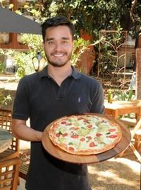 Nicolas Fujimoto, pizza de alcachofra: saudável servida no DuoO (Antonio Cunha/CB/D.A Press)