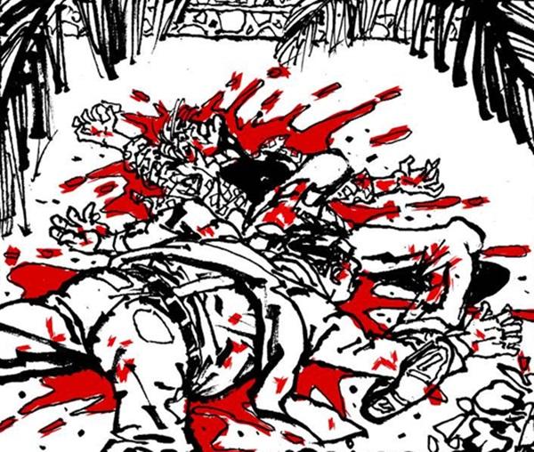 Cidade de sangue apresenta ilustração de Julio Shimamoto (Loja Cosmos/Divulgação)