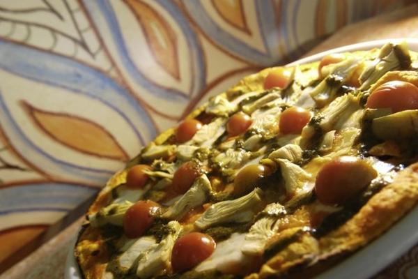 A pizza Dona Lenha 2 conta com alcachofras no recheio (Daniel Ferreira/CB/D.A Press)