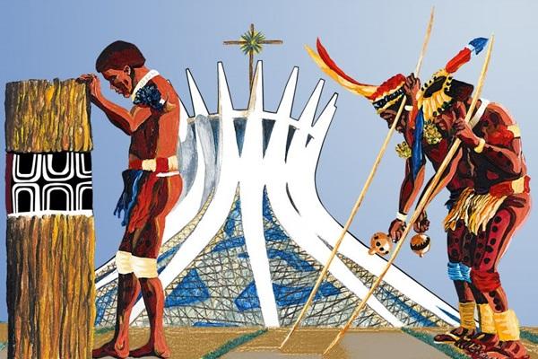 Em 'O eterno retorno', índios gigantes transitam pela cidade (Paulo Andrade/Divulgacao)