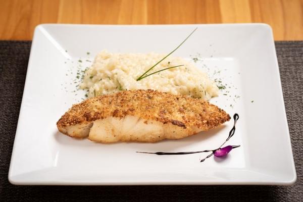 Pescada-amarela em crosta macadâmia com risoto de limão- siciliano será um dos pratos apresentados pelo 360 Cozinha Contemporânea (Telmo Ximenes/Divulgação)