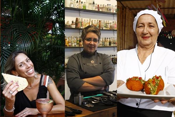 Fabiana Braga, Raquel Amaral e Nivalda Neves comandam cozinhas na capital (Ana Rayssa/Esp. CB/D.A Press - Gabriele Oliveira/Divulgação - Ana Rayssa/Esp. CB/D.A Press)