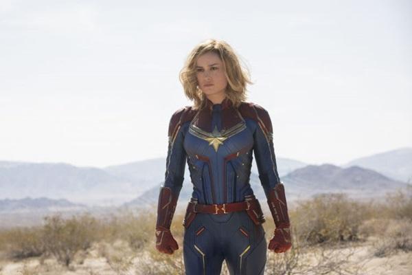Uma legítima empoderada em ação: a Capitã Marvel (Brie Larson) é puro êxtase  (Marvel Studios/Divulgação)