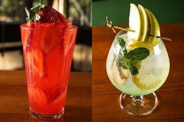 Ricardo Honorato ensina a preparar os drinques sem álcool Sensação (esquerda) e Green Ten (direita) (Victor Rocha/Divulgação)