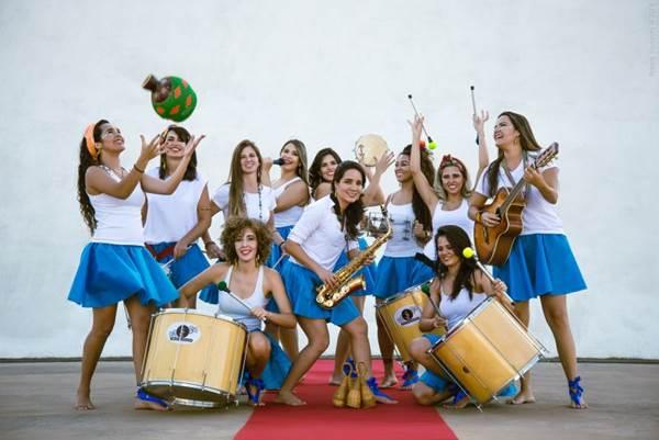 Banda percussiva feminina animará o carnaval estendido das crianças (Rafael Facundo/Divulgação)
